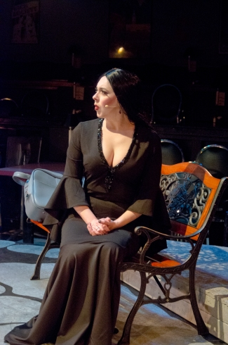 Morticia on bench