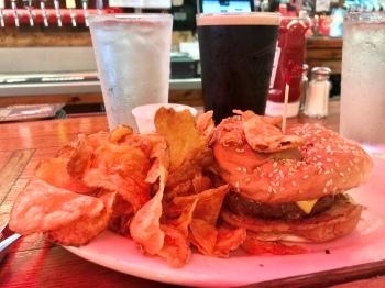 PR burger, hot chips, Guinness