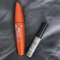 orange CoverGirl mascara, Essence brow gell